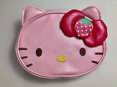 Hello Kitty W/ Strawberry Bow Cosmetic Pouch Bag Fauxe Leather Brand New Sanrio