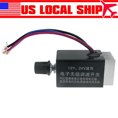 US DC 12V 24V 10A Motor Speed Controller Switch For Car Truck Fan Heater Control