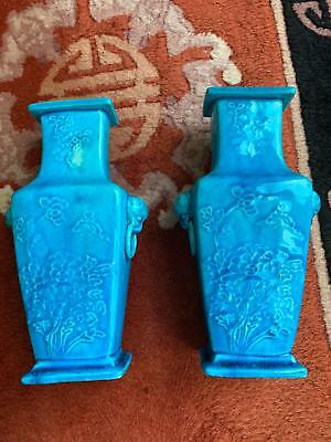 Pair Chinese Republic Period Hand Painted Turquoise Glaze Antique Vases