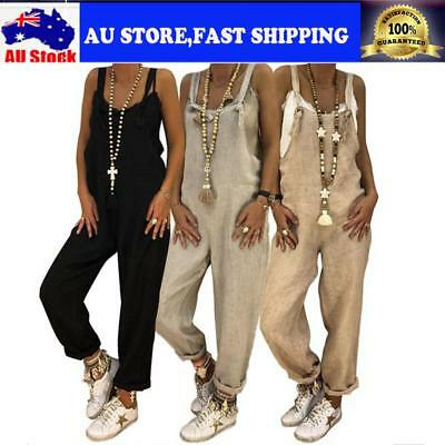 Women Loose Casual Bib Pants Overalls Straps Jumpsuit Rompers Trousers S-XL AU