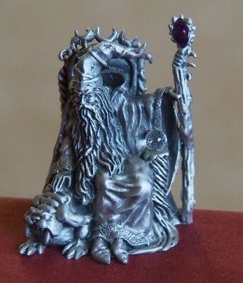 Vintage Fine Pewter Hudson 1988 Wizard Figurine Royal Selangor With Cz Ball 4847