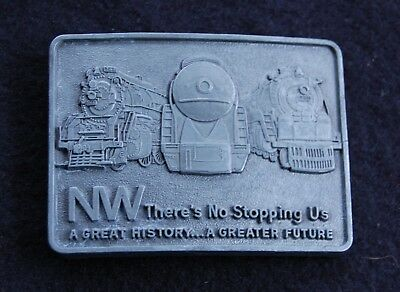 VINTAGE 1970's Norfolk & Western NW THERE'S NO STOPPING US RAILROAD BELT BUCKLE