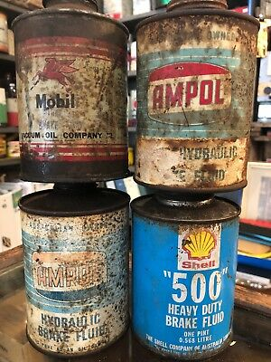 Oil Tins Pints X 4 Ampol, Shell, Mobil Lot