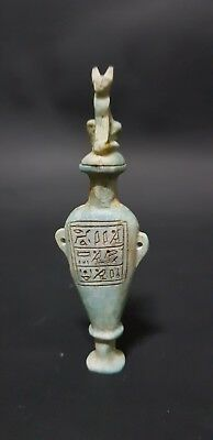 Rare Ancient Egyptian Egypt Antique HIEROGLYPHICS VESSEL With Bastet Cover BC