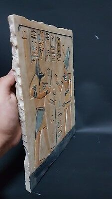 ANCIENT EGYPTIAN ANTIQUES Ramses With Anubis Stela Relif Ramses Tomb Stone BC