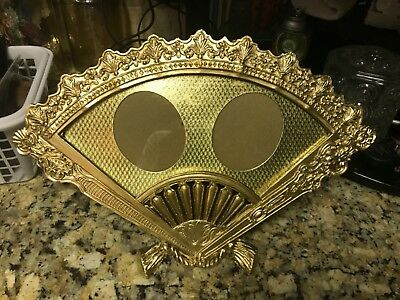 Antique Vintage Ornate Heavy Brass Fan Shaped 2 Window Picture Frame