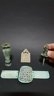 ANCIENT EGYPTIAN ANTIQUE Egyptian AMULET HIEROGLYPHICS VESSEL SCARAB Talisman BC
