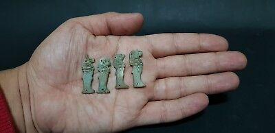 ANCIENT EGYPTIAN ANTIQUES 4 EGYPTIAN AMULETS Sons Of Horus EGYPT Stone BC