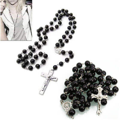 1Pcs Stainless Steel  Beads  Sale  Round  Chain  Necklace Rosary  Cross  8mm