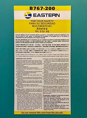 Eastern Airlines Safety Card-- 767-200 Super Rare Card From The New Eastern!!