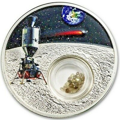 Apollo 50Th Anniversary Moon Landing 2019 1 Oz Silver Coin 1 Full Carat Diamonds