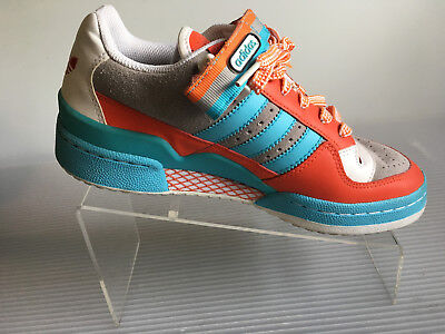 5cfaf6bf0c41 Adidas Vintage Womens High Top Sneakers Shoes Turquoise Orange Size 7 Go5201