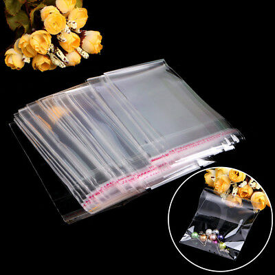 100Pcs Clear OPP Plastic Clear Cellophane Cello Display Bags Self Adhesive Seal