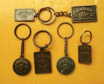 Six Early Collectable Jim Beam Metal Key Rings Never Used