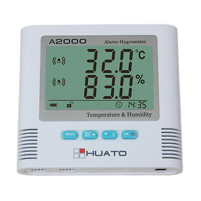 Huato A2000-TH Desktop Wall Mounted LCD Alarm Thermo-hygrometer Accuracy±0.5℃
