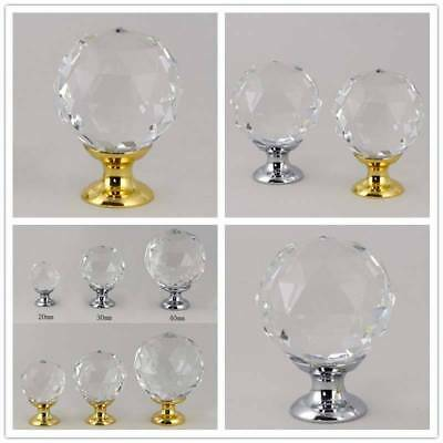 Crystal Glass Door Knobs & Pulls Drawer Furniture Cabinet Wardrobe Handles Pull