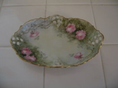 Beautiful Vintage RC Bavaria Hand Painted Trinket Dish With Pink Roses