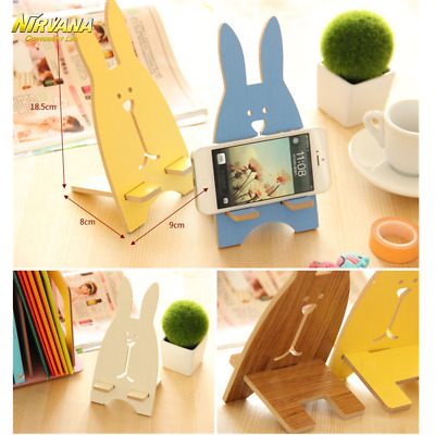 Cute Wood Rabbit Smartphone Mounts Holders Stand For iPhone Xiaomi Samsung S8
