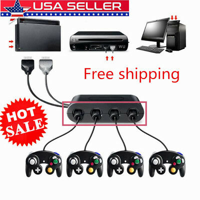 US GameCube Controller Adapter 4 port For Nintendo Switch Wii-U&PC USB NEW-TURBO