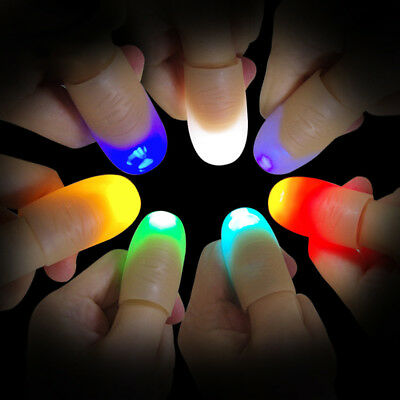 2Pcs LED Light up Finger Thumb Tip Kuso Prank Magic Party Trick Props Toy Salabl