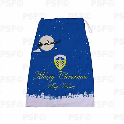 Leeds United FC Official Personalised Snow Scene Santa Sack Stocking LSS001