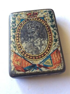 Antique 1902 King Edward VII Coronation Miniature Souvenir Tin