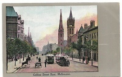 Collins Street East, Melbourne  Vic Post Card Unused