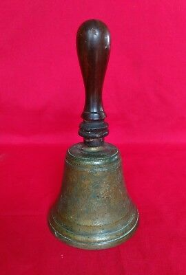 Old bronze OR BRASS CAST BELL HAND HELD FOR DISPLAY HAS HAIRLINE