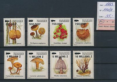 LJ63869 Zaire 1993 mushrooms nature overprint MNH cv 35 EUR