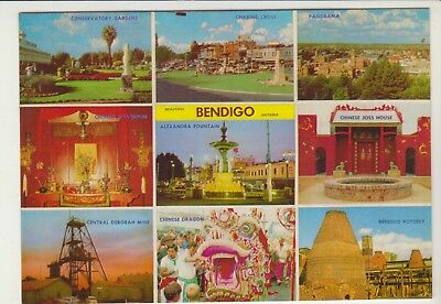 Multiscene Bendigo Victoria Rose Postcard