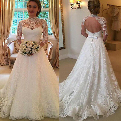 Women White Lace Wedding Party Prom Maxi Dress Bridal Pageant Backless Ball Gown