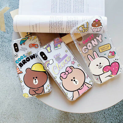 Line Friend TPU Case Cover Cute Rabbit Bear For iphone XS MAX XR 6/6S 7 8 Plus