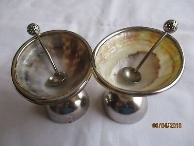 Condiment Set - Abalone Shell Set In Silver