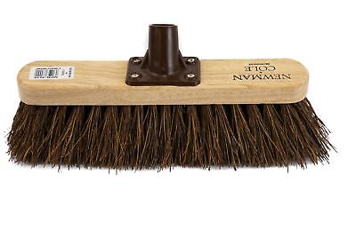 """Newman and Cole 12"""" Natural Stiff Bassine Broom Brush Head Outdoor Yard Sweeping"""