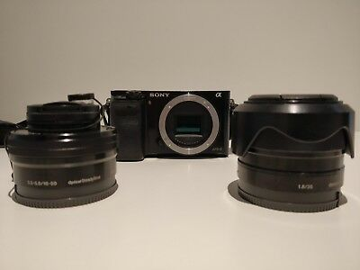 SONY Alpha A6000 24.3 MP Digital Camera & 16-50mm 3.5-5.6f lens & 35mm 1.8f lens