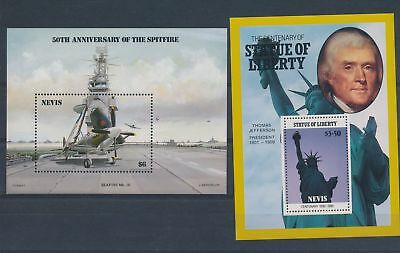 LJ62813 Nevis airplanes Statue of Liberty sheets MNH