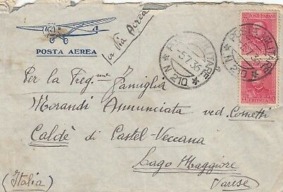 Q595 Eritrea Italy Military Post  July 1936 air cover Italy, 150c rate 2 stamps