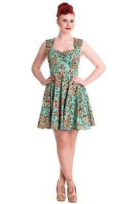 6203b72f1 HELL BUNNY IDAHO Sugar Skull Print Black Dress Size 6 8 Rockabilly ...