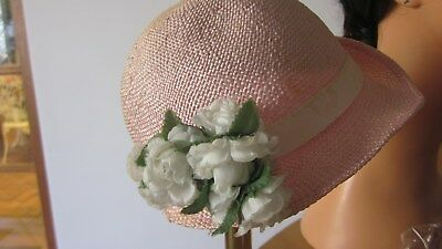1950,s vintage pink straw with flowers girls hat/bonnet from Wilys Paris.Cute!