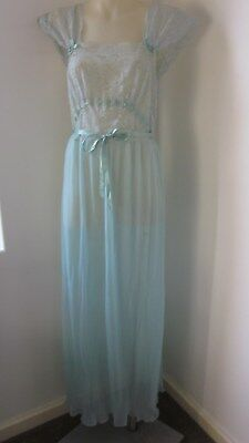 1950,s fab blue trousseau pleated nylon/lace/satin bows nightie/dress,34ins bust