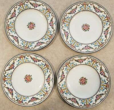 Vintage Set of 4 Wedgwood Ventnor W996 Hand Painted Lunch Plates MINT!  UNUSED!