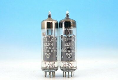 2x Electrically MATCHED EL84 / 6BQ5 by POLAM PHILIPS Vintage 60's PAIR TUBES