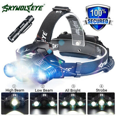 80000LM 3X XM-L T6 LED Headlamp Head Light Flashlight Rechargeable Torch Lamp