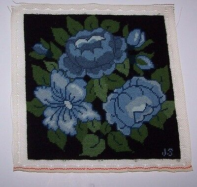"""Vintage Blue Floral Hand Made Embroidery Needle Work Textile Art 12"""" x 12"""""""