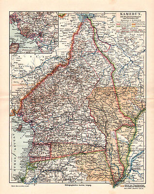 Antique map. AFRICA. CAMEROON. 1909