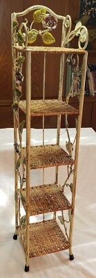Vintage Five Tier Wrought Iron Plant Stand with wicker shelves