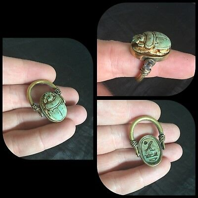Rare ancient Egyptian scarab beetle bronze/brass ring , 300 bc