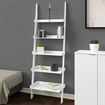Leiterregal Treppenregal Weiß Bücherregal Standregal Badregal Bad Holz 180cm