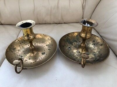 Antique / Vintage Old Brass Candlesticks Holders Pair of x2