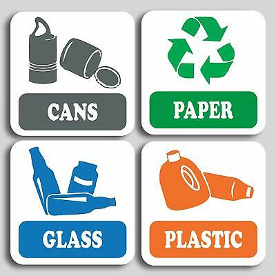 Recycling Stickers Recycle Labels Various Sizes Pack of 4 Waste Bin Wheelie Bin